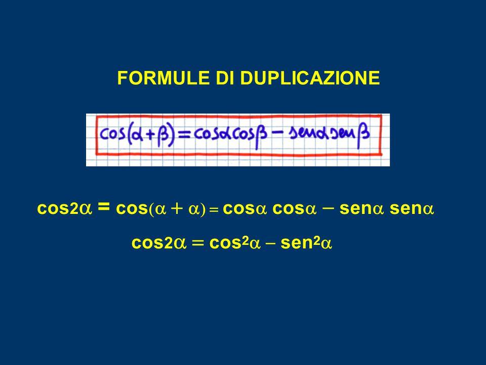 FORMULE DI DUPLICAZIONE cos2a = cos(a + a) = cosa cosa - sena sena