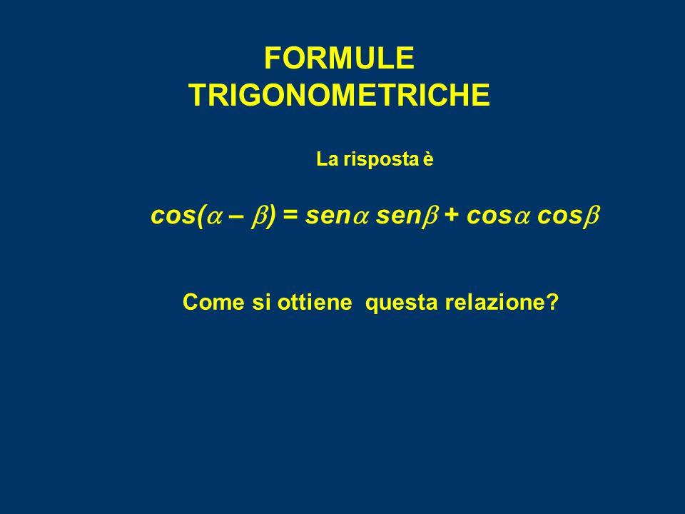 FORMULE TRIGONOMETRICHE cos(a – b) = sena senb + cosa cosb