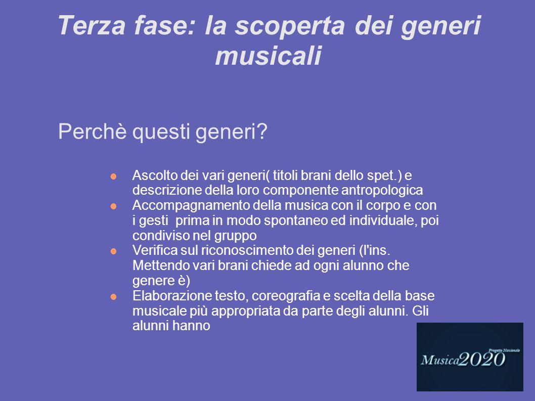 Terza fase: la scoperta dei generi musicali