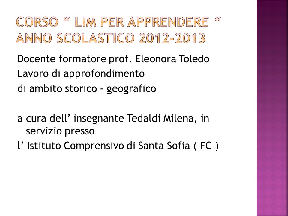 Corso LIM per apprendere anno scolastico 2012-2013