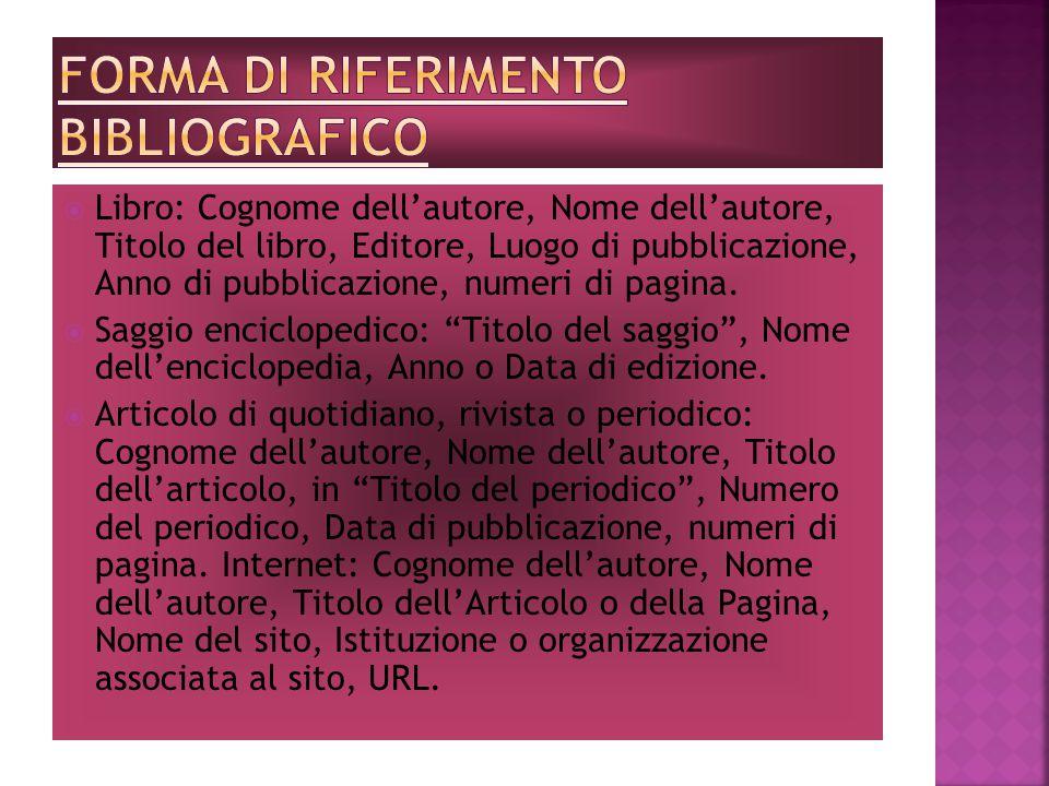 Forma di riferimento bibliografico