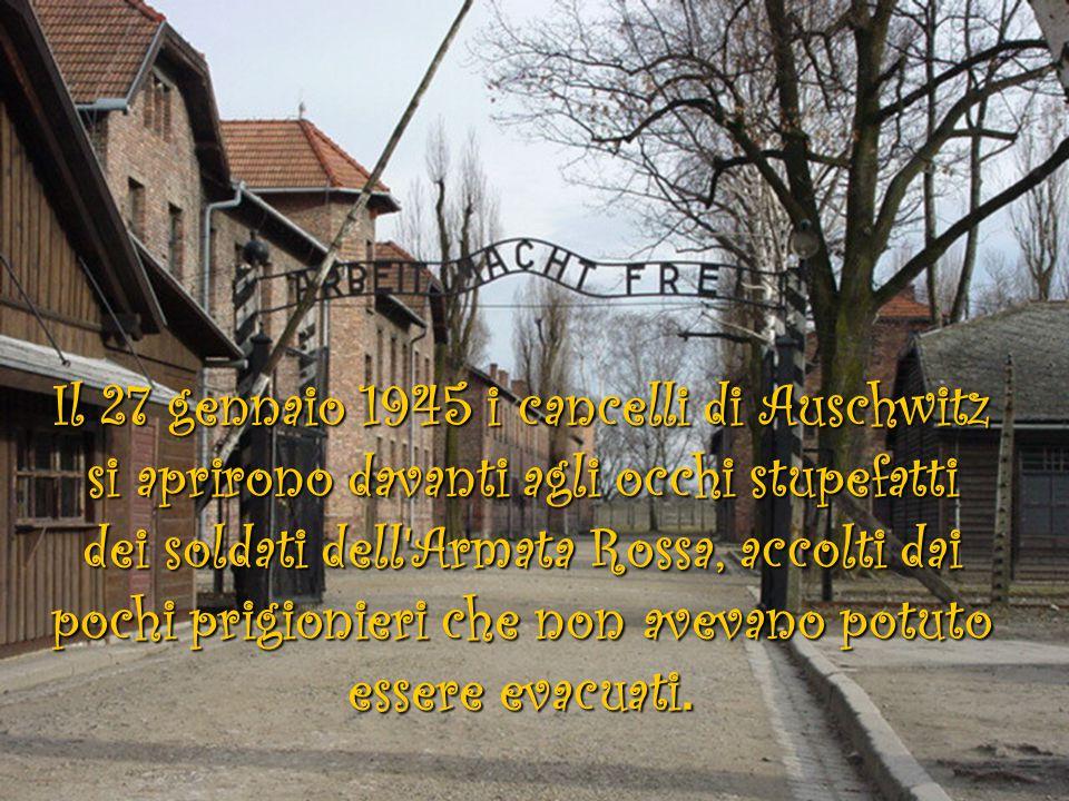 Il 27 gennaio 1945 i cancelli di Auschwitz si aprirono davanti agli occhi stupefatti dei soldati dell Armata Rossa, accolti dai pochi prigionieri che non avevano potuto essere evacuati.