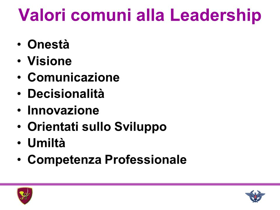 Valori comuni alla Leadership