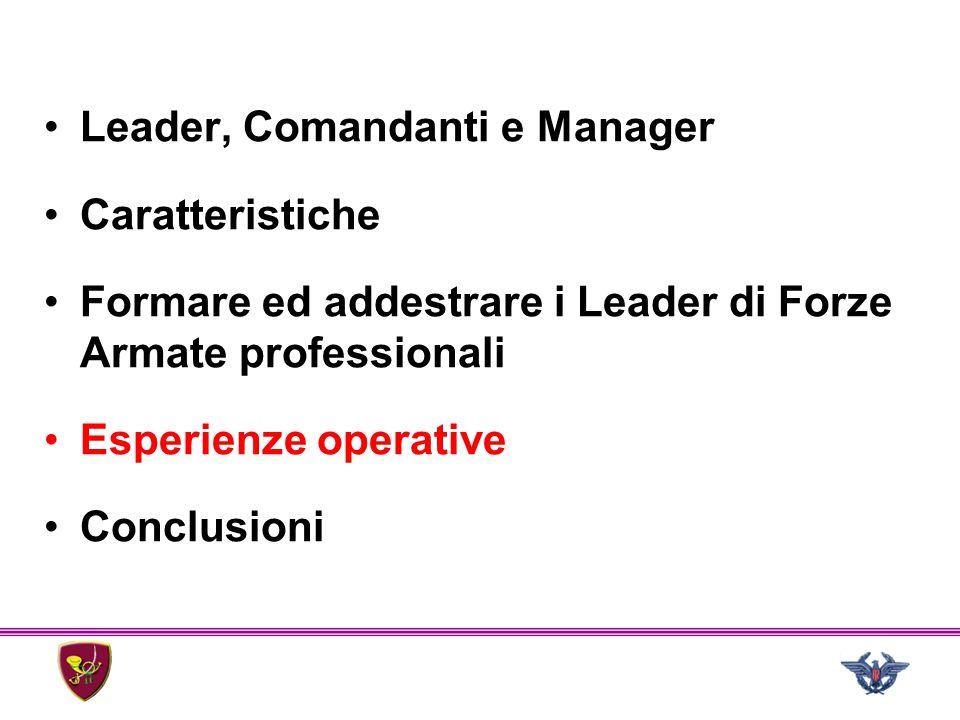 Leader, Comandanti e Manager Caratteristiche