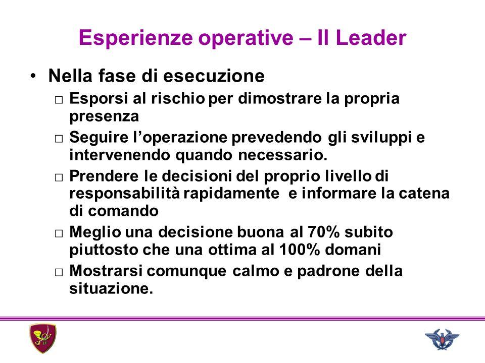 Esperienze operative – Il Leader