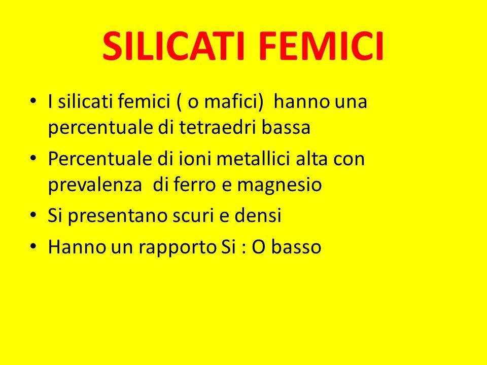 SILICATI FEMICI I silicati femici ( o mafici) hanno una percentuale di tetraedri bassa.