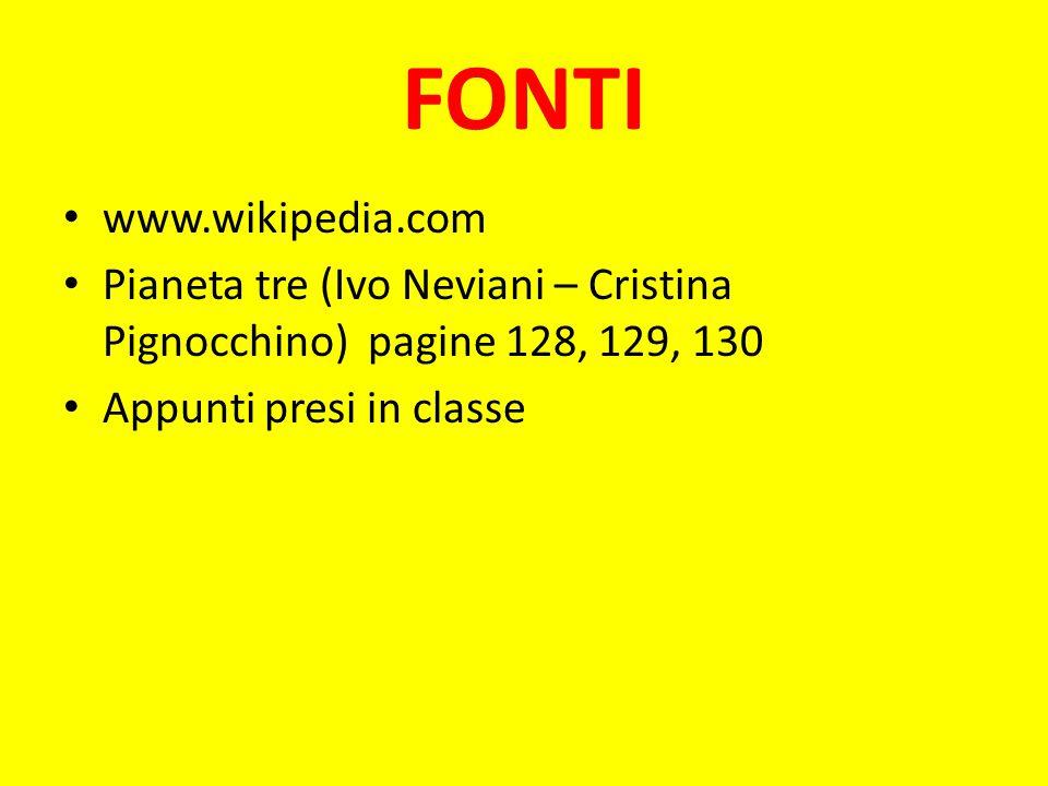 FONTI www.wikipedia.com