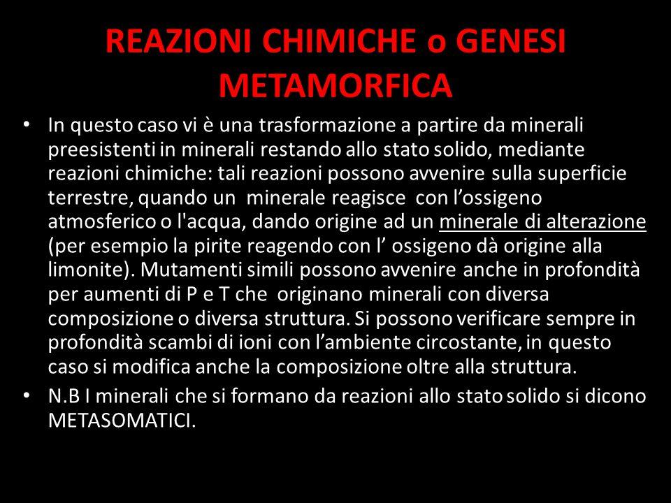 REAZIONI CHIMICHE o GENESI METAMORFICA