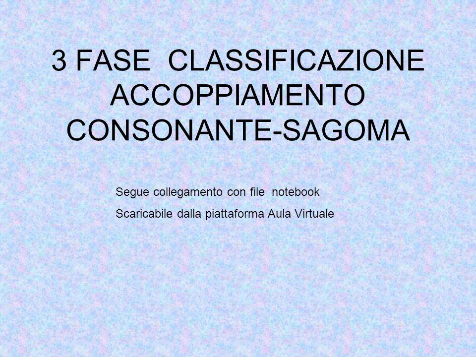 3 FASE CLASSIFICAZIONE ACCOPPIAMENTO CONSONANTE-SAGOMA