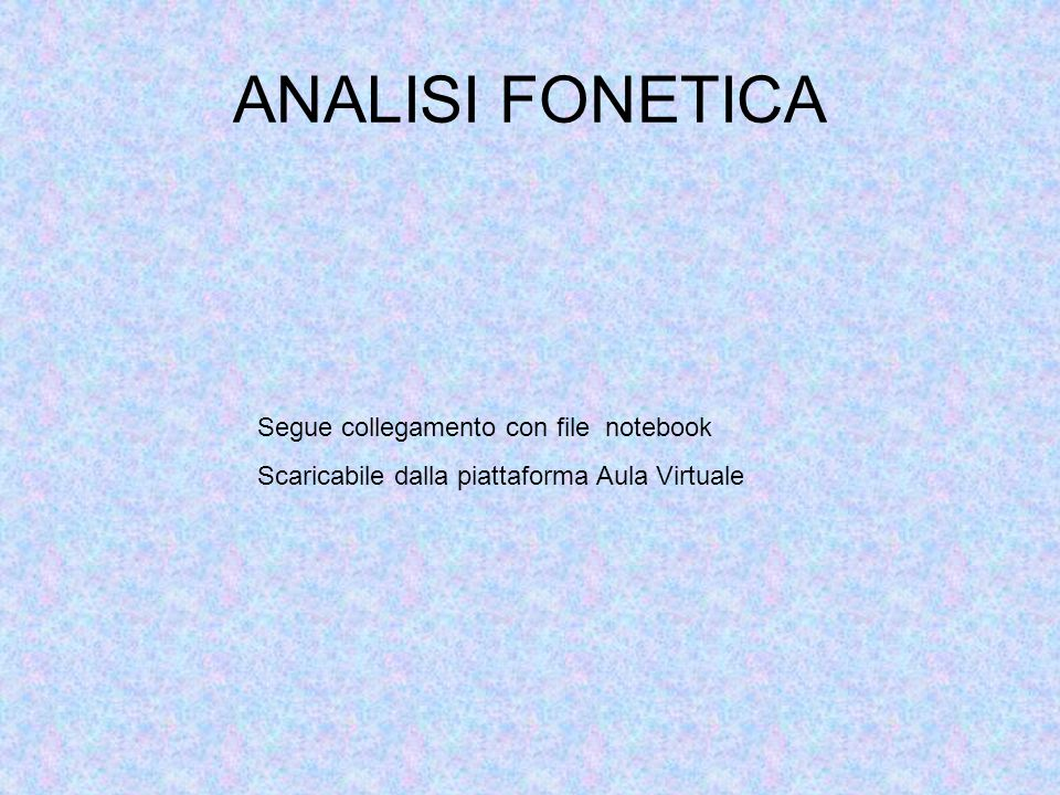 ANALISI FONETICA Segue collegamento con file notebook