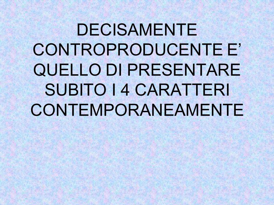 DECISAMENTE CONTROPRODUCENTE E' QUELLO DI PRESENTARE SUBITO I 4 CARATTERI CONTEMPORANEAMENTE