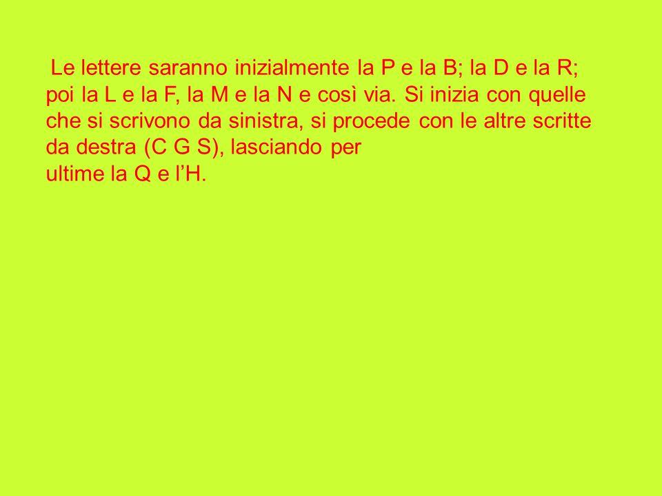 Le lettere saranno inizialmente la P e la B; la D e la R; poi la L e la F, la M e la N e così via. Si inizia con quelle che si scrivono da sinistra, si procede con le altre scritte da destra (C G S), lasciando per