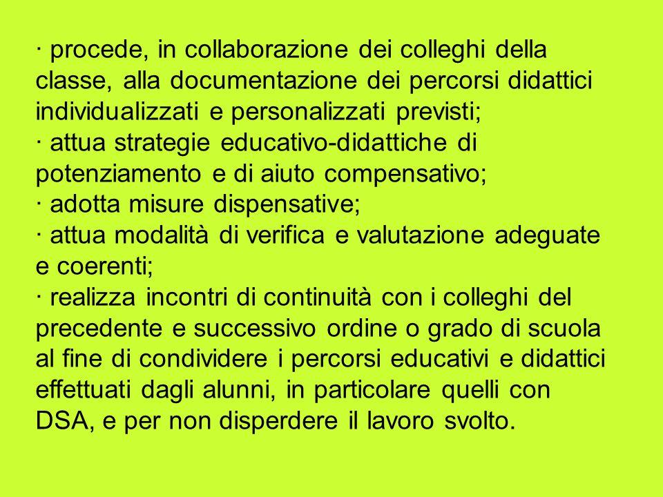 · procede, in collaborazione dei colleghi della classe, alla documentazione dei percorsi didattici individualizzati e personalizzati previsti;