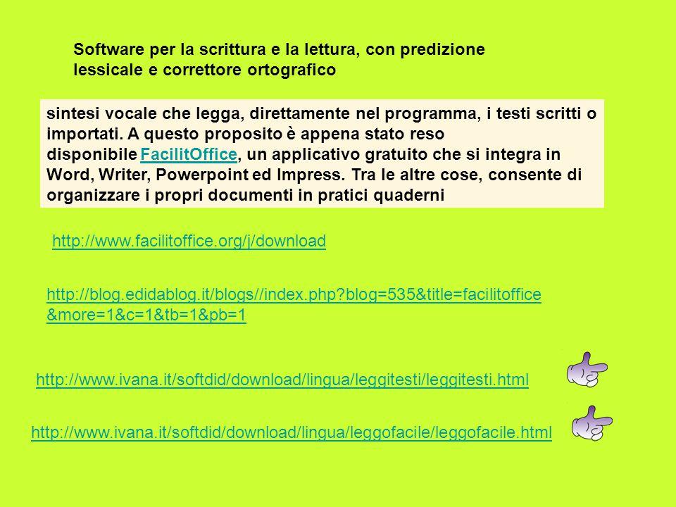 Software per la scrittura e la lettura, con predizione lessicale e correttore ortografico