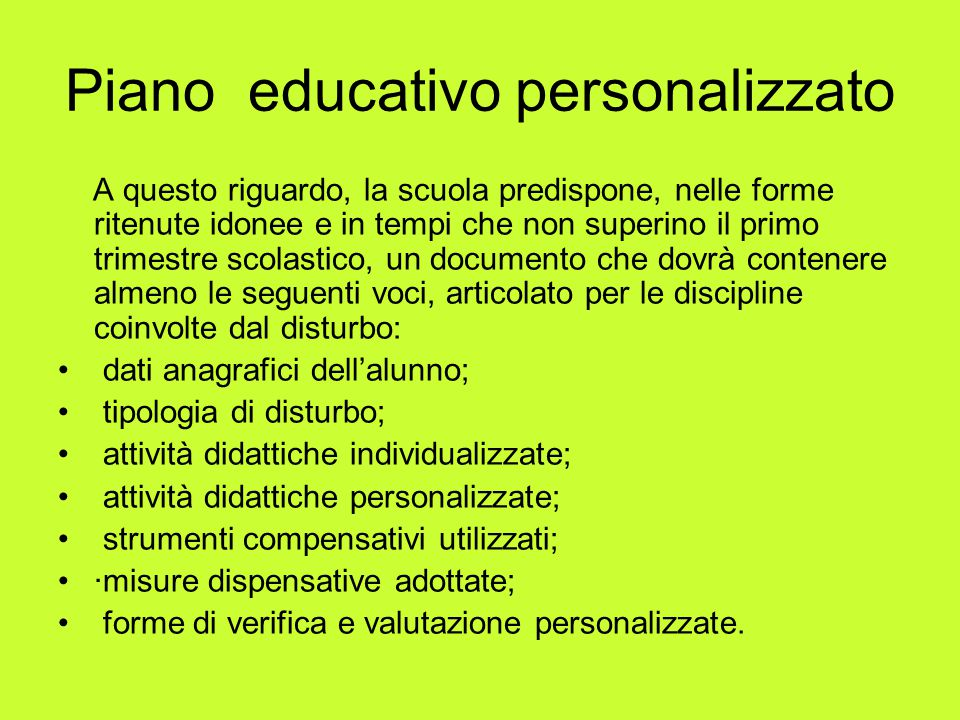 Piano educativo personalizzato