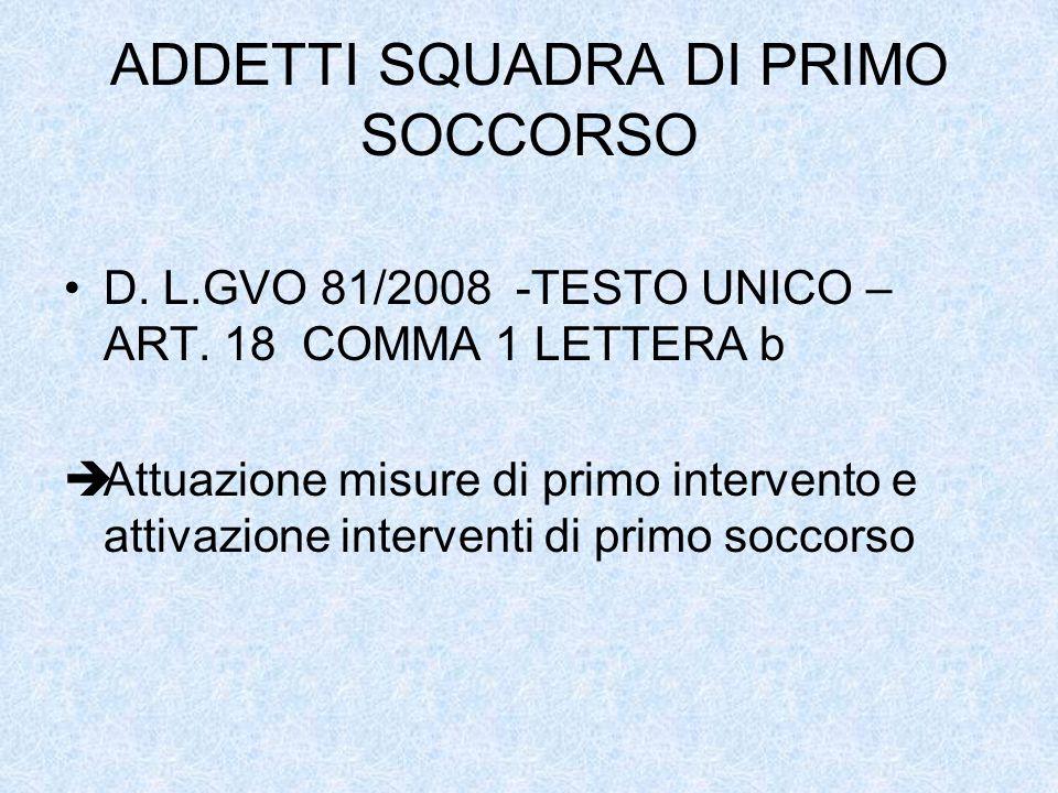 ADDETTI SQUADRA DI PRIMO SOCCORSO