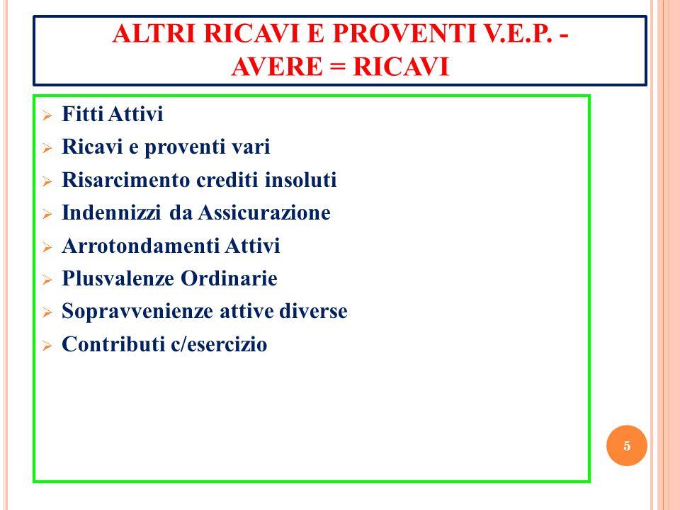 ALTRI RICAVI E PROVENTI V.E.P. - AVERE = RICAVI