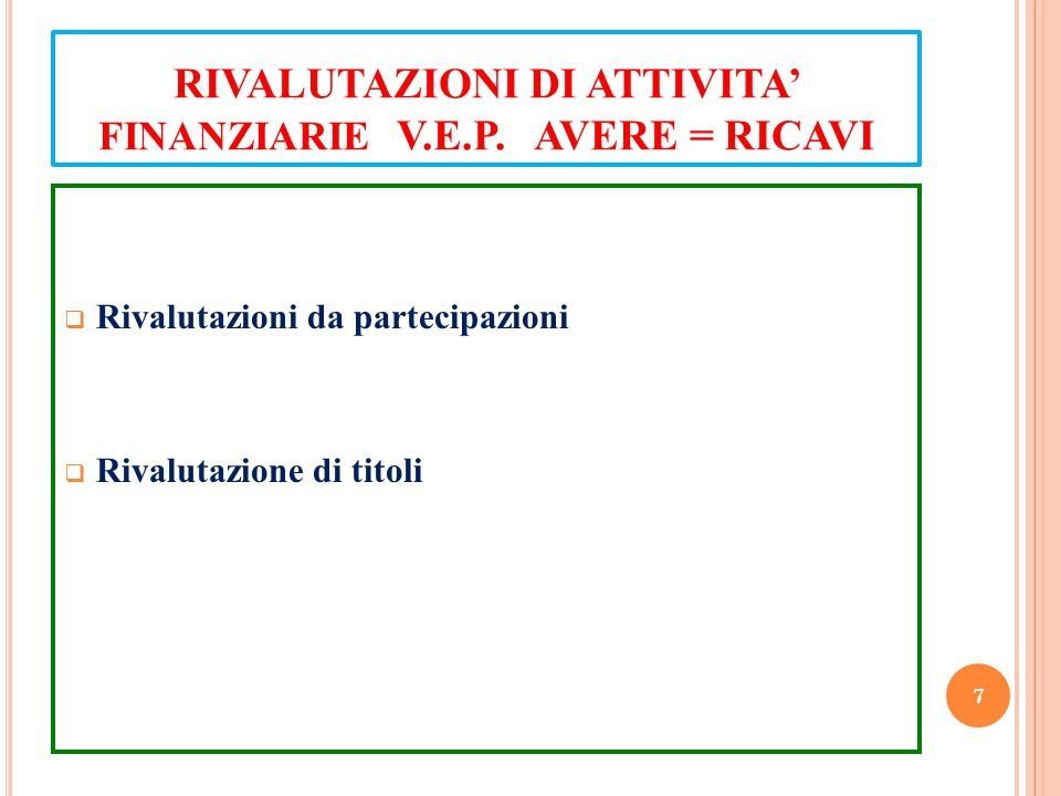 RIVALUTAZIONI DI ATTIVITA' FINANZIARIE V.E.P. AVERE = RICAVI