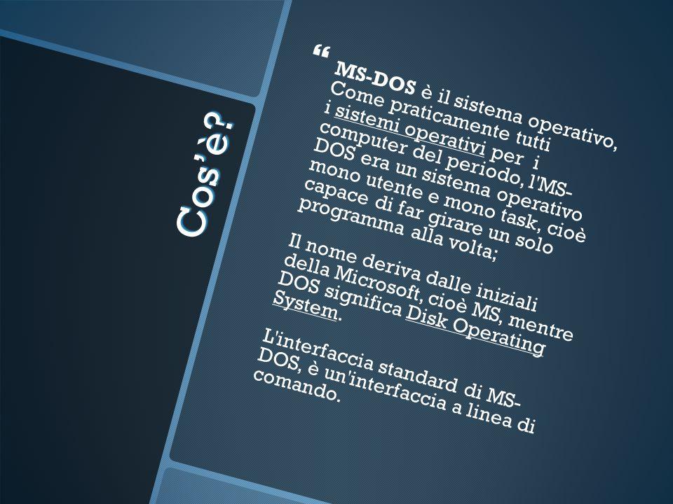 MS-DOS è il sistema operativo, Come praticamente tutti i sistemi operativi per i computer del periodo, l MS- DOS era un sistema operativo mono utente e mono task, cioè capace di far girare un solo programma alla volta; Il nome deriva dalle iniziali della Microsoft, cioè MS, mentre DOS significa Disk Operating System. L interfaccia standard di MS- DOS, è un interfaccia a linea di comando.