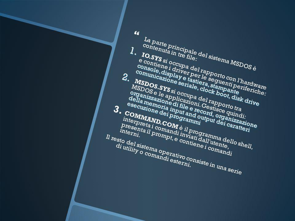La parte principale del sistema MSDOS è contenuta in tre file: