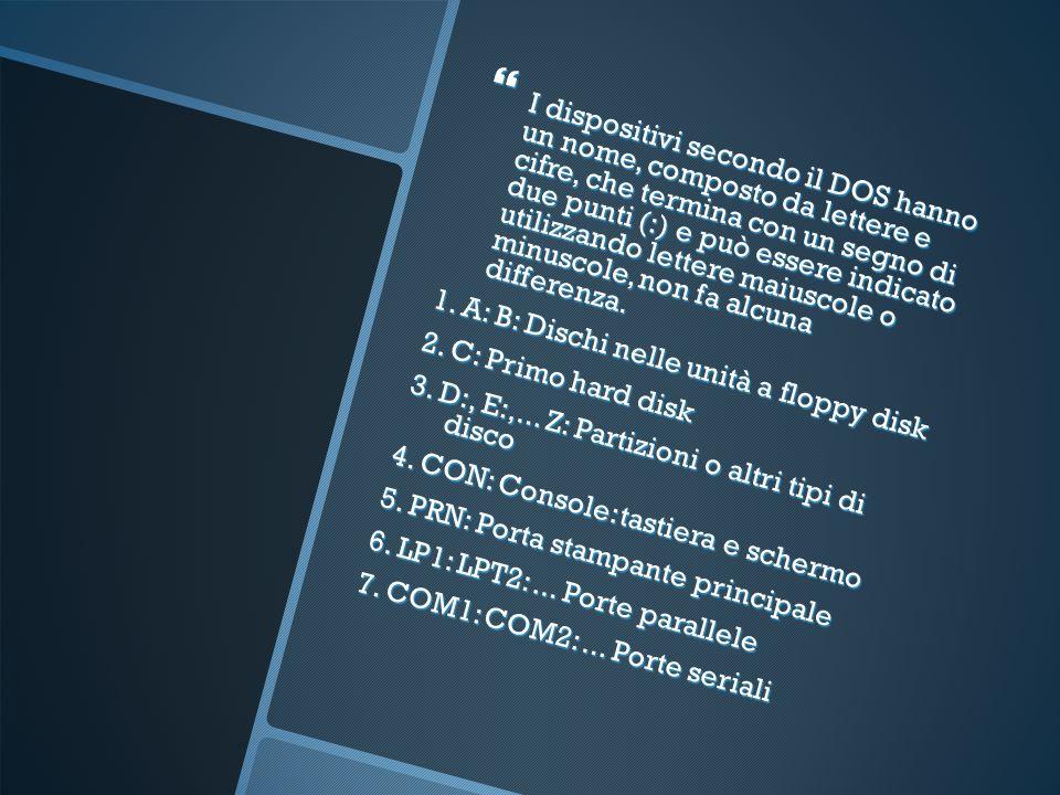 I dispositivi secondo il DOS hanno un nome, composto da lettere e cifre, che termina con un segno di due punti (:) e può essere indicato utilizzando lettere maiuscole o minuscole, non fa alcuna differenza.
