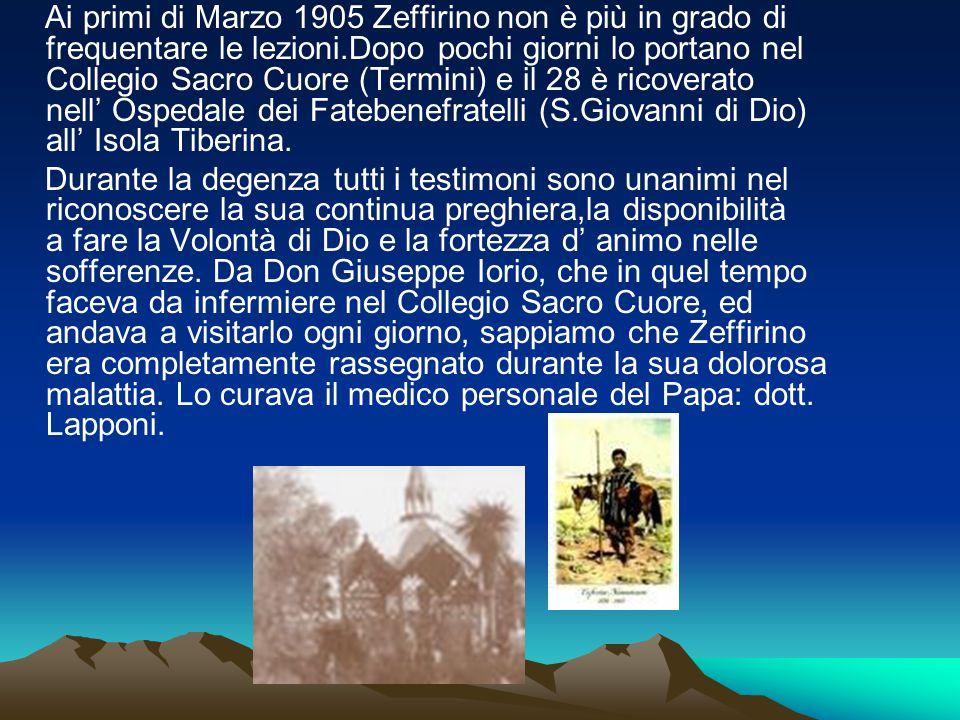 Ai primi di Marzo 1905 Zeffirino non è più in grado di frequentare le lezioni.Dopo pochi giorni lo portano nel Collegio Sacro Cuore (Termini) e il 28 è ricoverato nell' Ospedale dei Fatebenefratelli (S.Giovanni di Dio) all' Isola Tiberina.