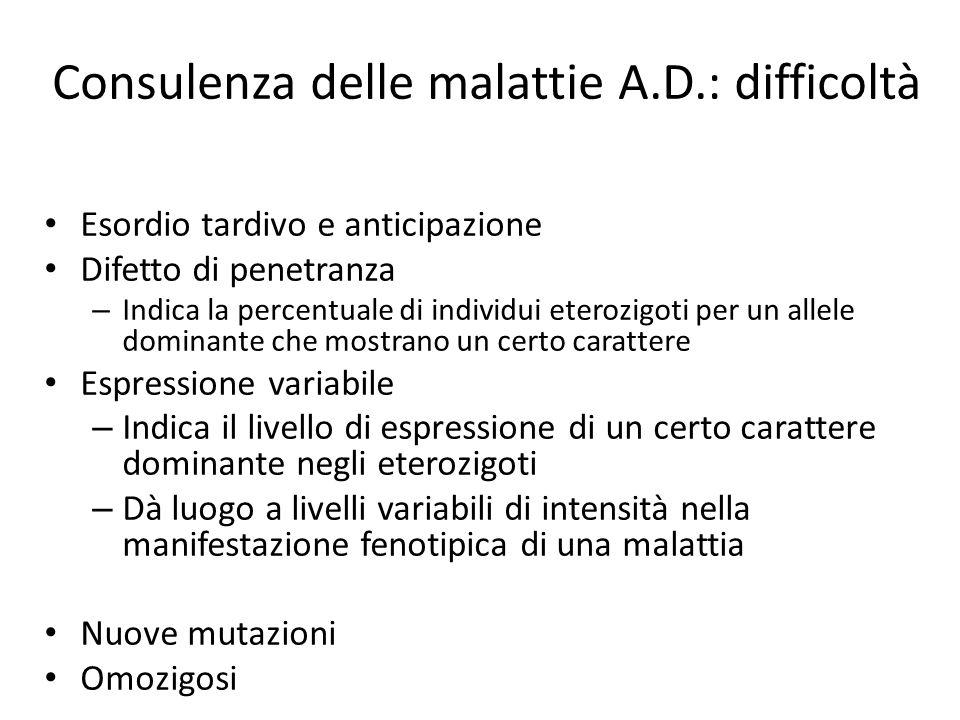Consulenza delle malattie A.D.: difficoltà