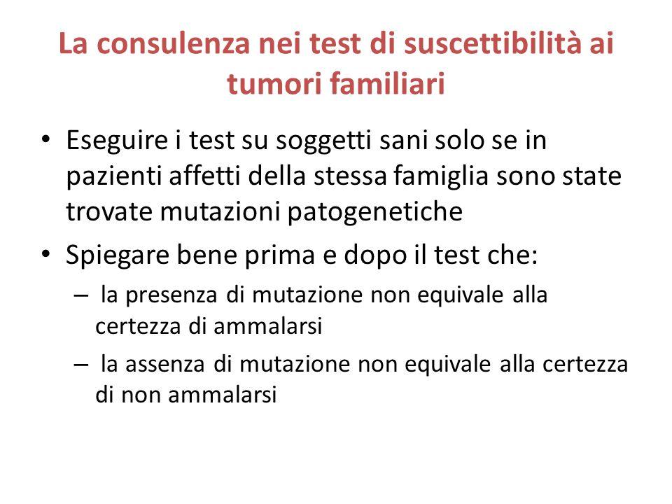 La consulenza nei test di suscettibilità ai tumori familiari