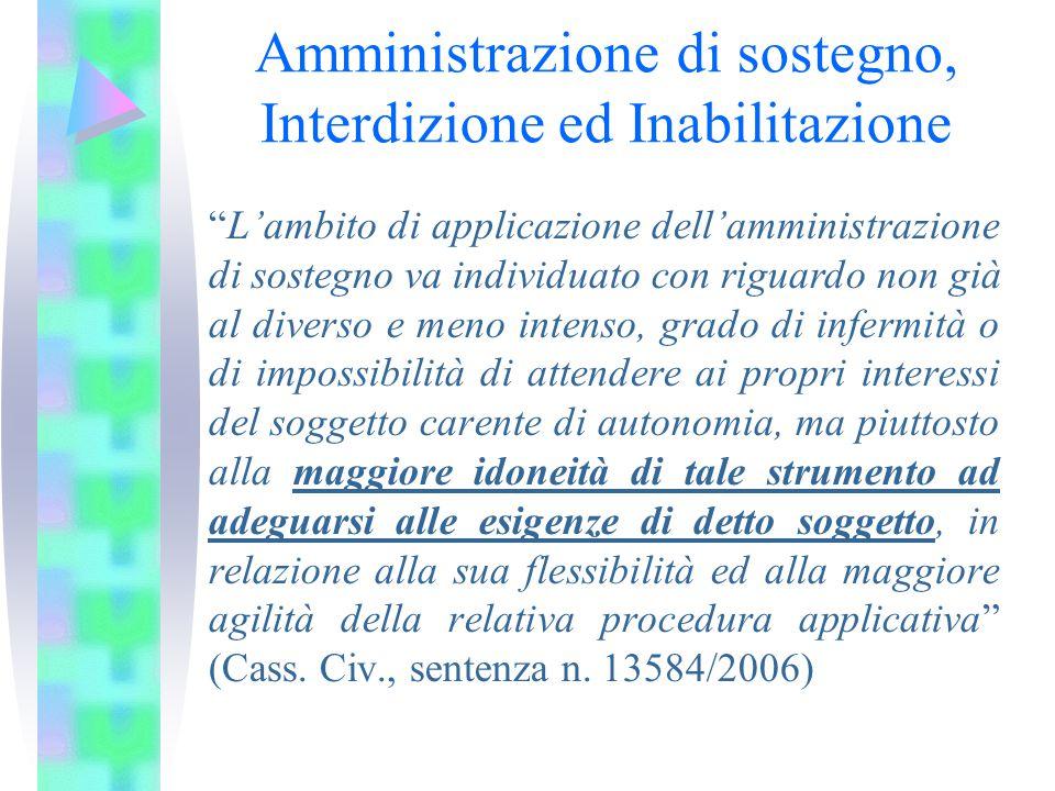 Amministrazione di sostegno, Interdizione ed Inabilitazione