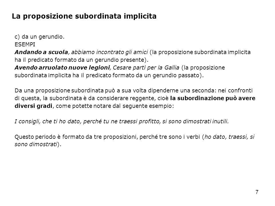 La proposizione subordinata implicita