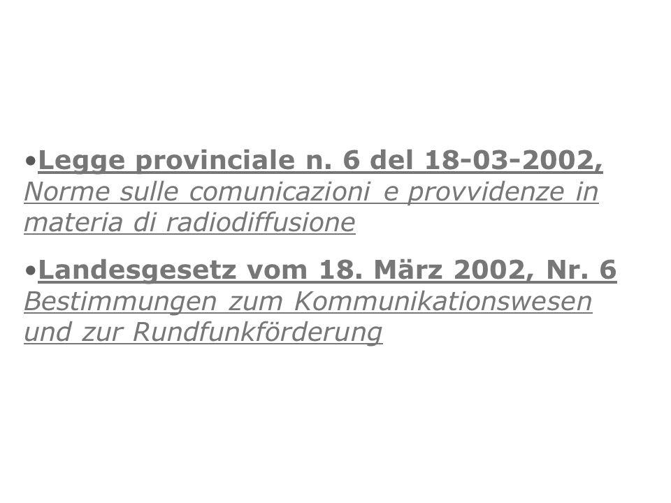 Legge provinciale n. 6 del 18-03-2002, Norme sulle comunicazioni e provvidenze in materia di radiodiffusione