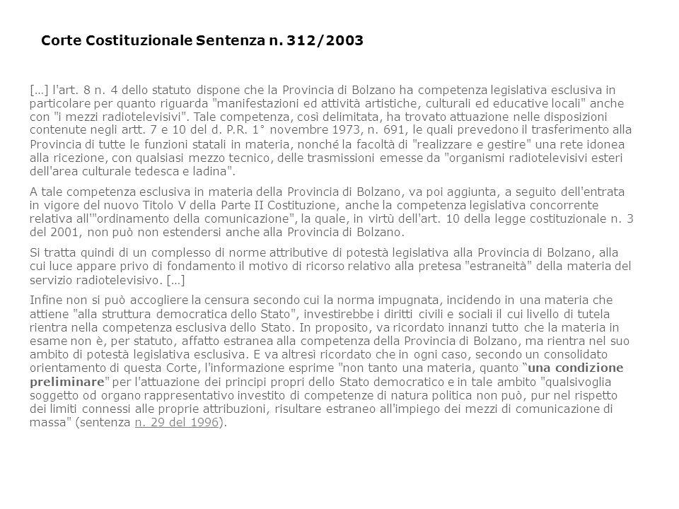 Corte Costituzionale Sentenza n. 312/2003