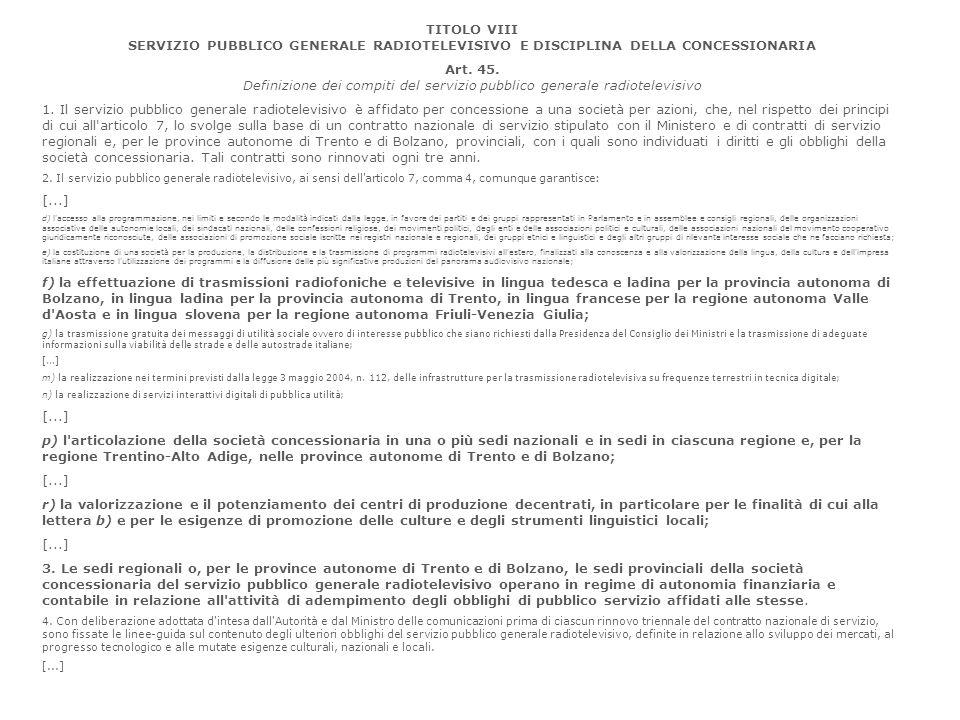 TITOLO VIII SERVIZIO PUBBLICO GENERALE RADIOTELEVISIVO E DISCIPLINA DELLA CONCESSIONARIA