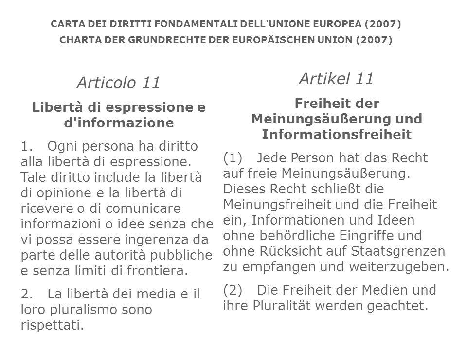 CARTA DEI DIRITTI FONDAMENTALI DELL UNIONE EUROPEA (2007)