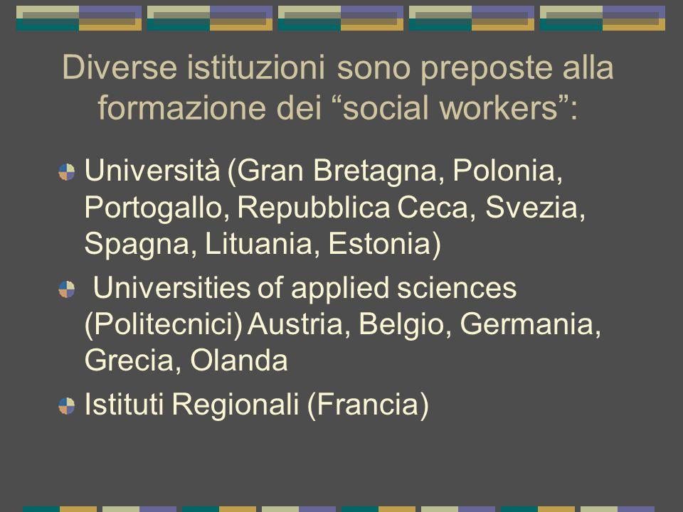 Diverse istituzioni sono preposte alla formazione dei social workers :