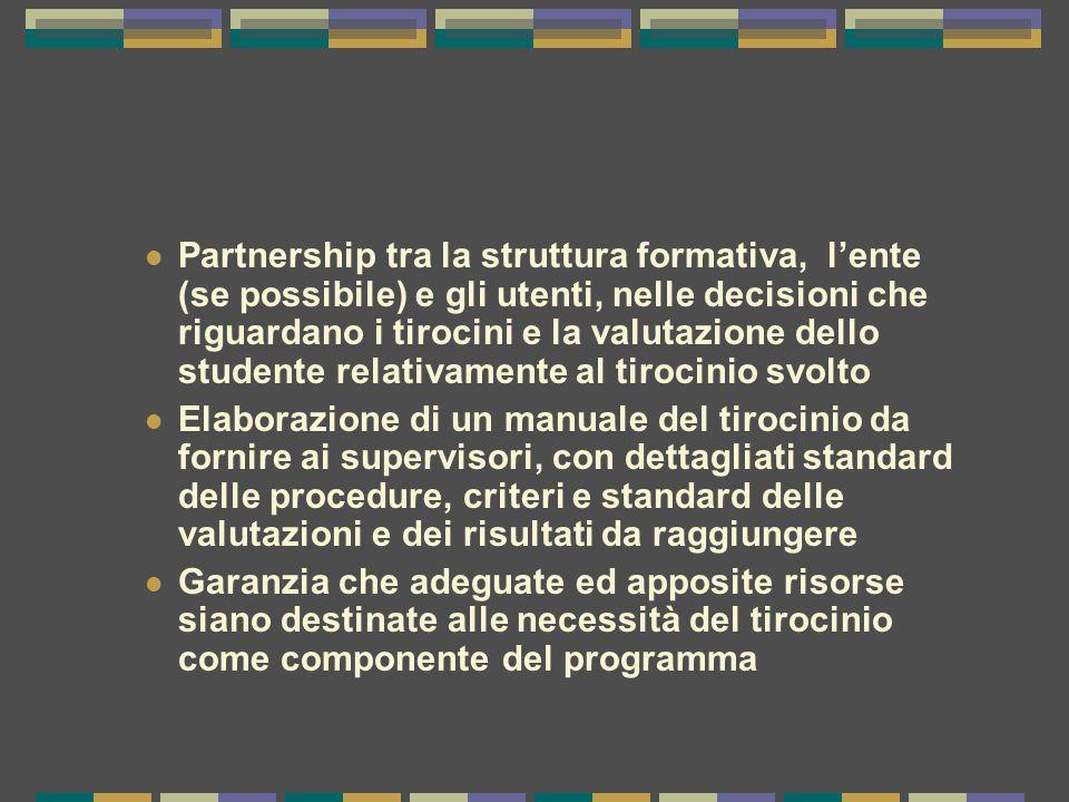 Partnership tra la struttura formativa, l'ente (se possibile) e gli utenti, nelle decisioni che riguardano i tirocini e la valutazione dello studente relativamente al tirocinio svolto