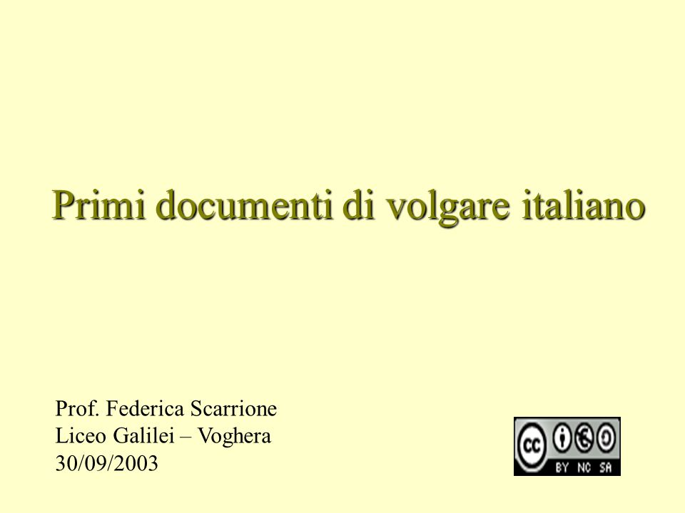Primi documenti di volgare italiano