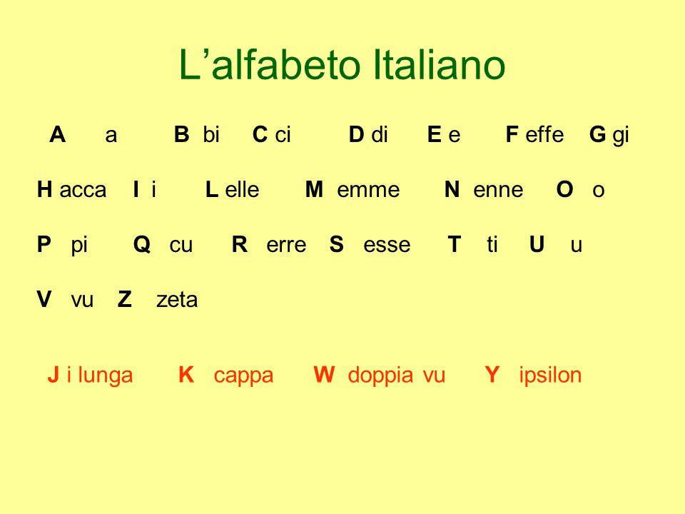 L'alfabeto Italiano A a B bi C ci D di E e F effe G gi