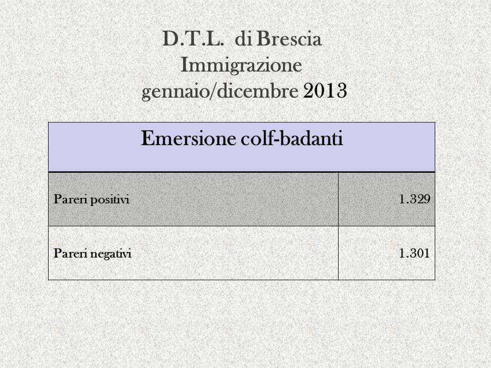 D.T.L. di Brescia Immigrazione gennaio/dicembre 2013