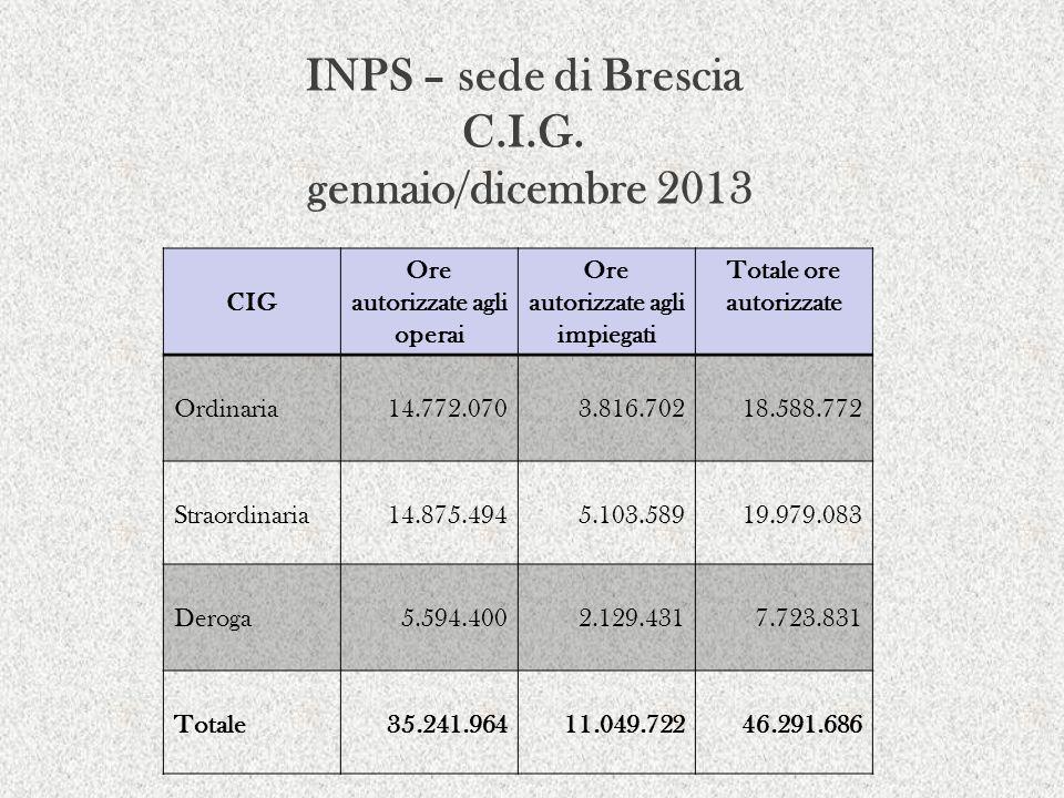 INPS – sede di Brescia C.I.G. gennaio/dicembre 2013
