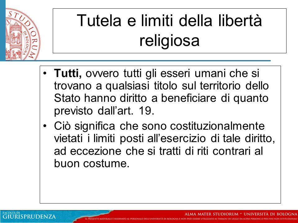 Tutela e limiti della libertà religiosa