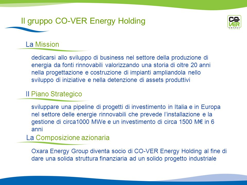 Il gruppo CO-VER Energy Holding