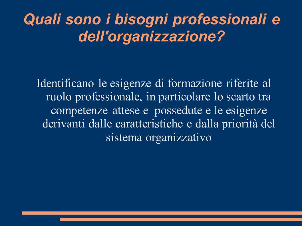Quali sono i bisogni professionali e dell organizzazione