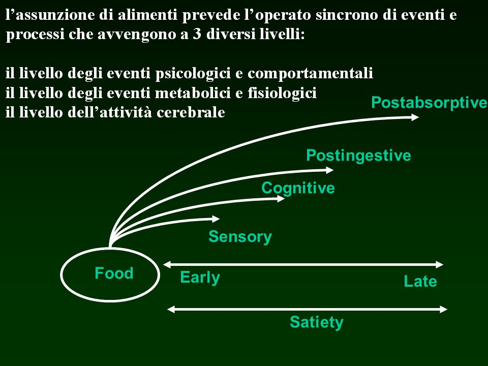 Postabsorptive Postingestive Cognitive Sensory Food Early Late Satiety