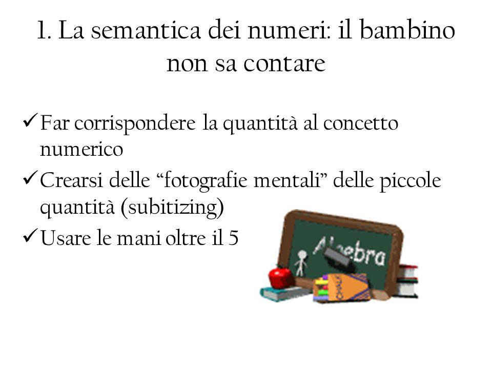 1. La semantica dei numeri: il bambino non sa contare
