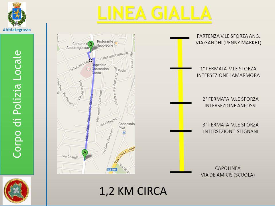 LINEA GIALLA 1,2 KM CIRCA Corpo di Polizia Locale