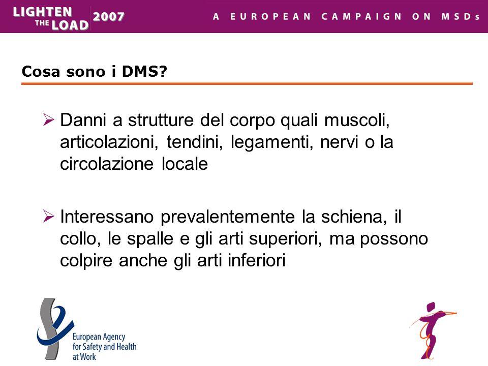 Cosa sono i DMS Danni a strutture del corpo quali muscoli, articolazioni, tendini, legamenti, nervi o la circolazione locale.