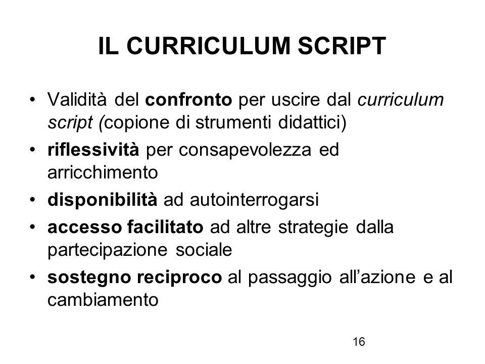 IL CURRICULUM SCRIPT Validità del confronto per uscire dal curriculum script (copione di strumenti didattici)