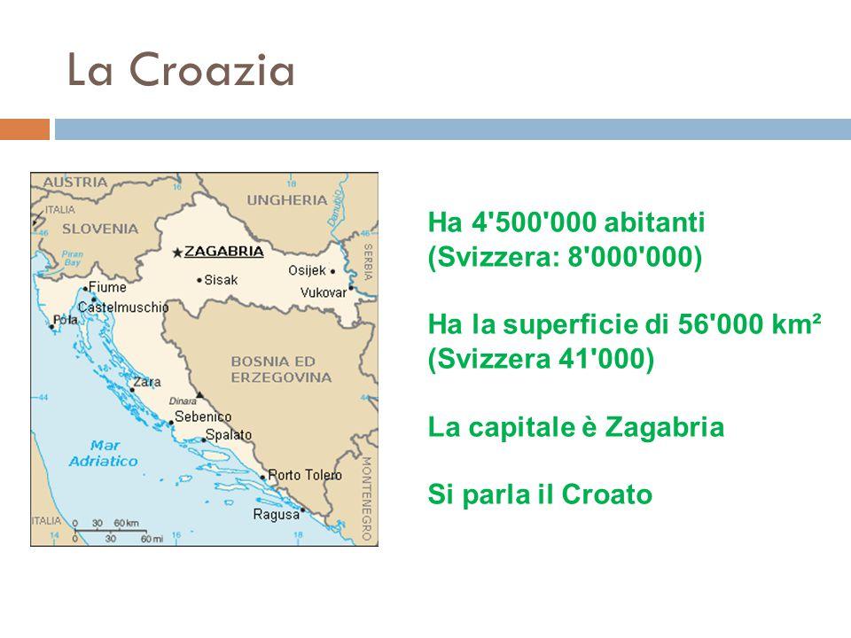 La Croazia Ha 4 500 000 abitanti (Svizzera: 8 000 000)