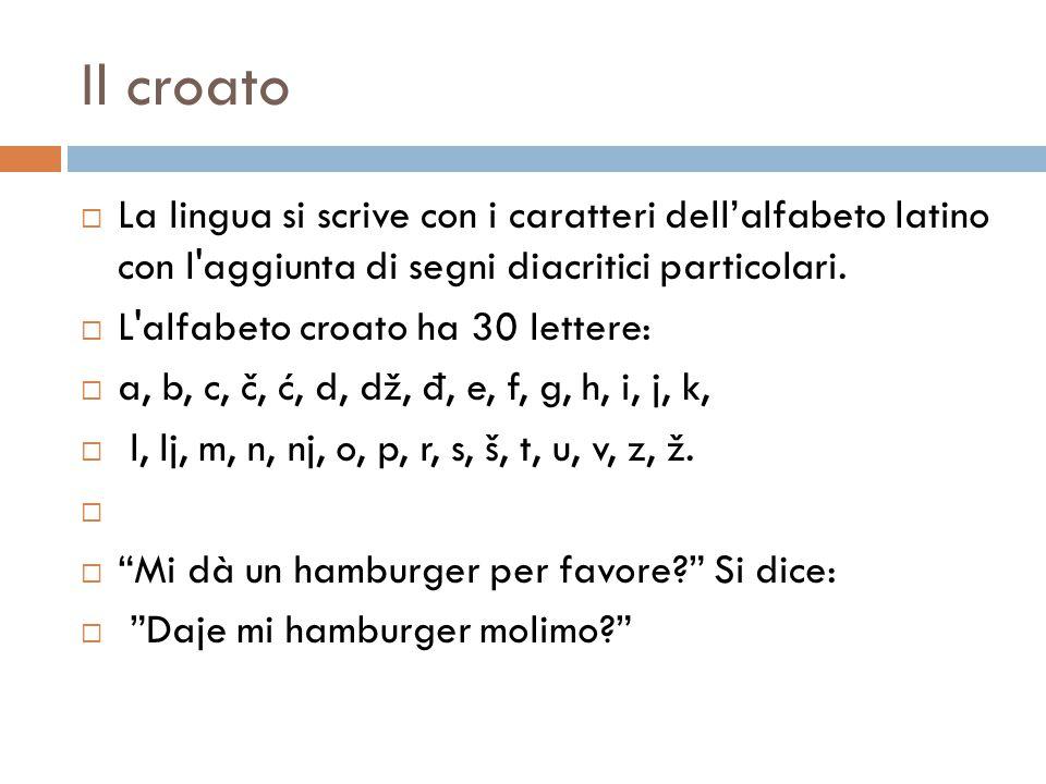 Il croato La lingua si scrive con i caratteri dell'alfabeto latino con l aggiunta di segni diacritici particolari.